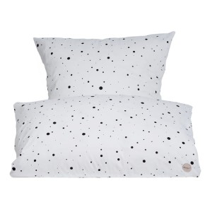 Pościel JUNIOR 100x140 / 40x45 cm - DOT BEDDING White/black- OYOY
